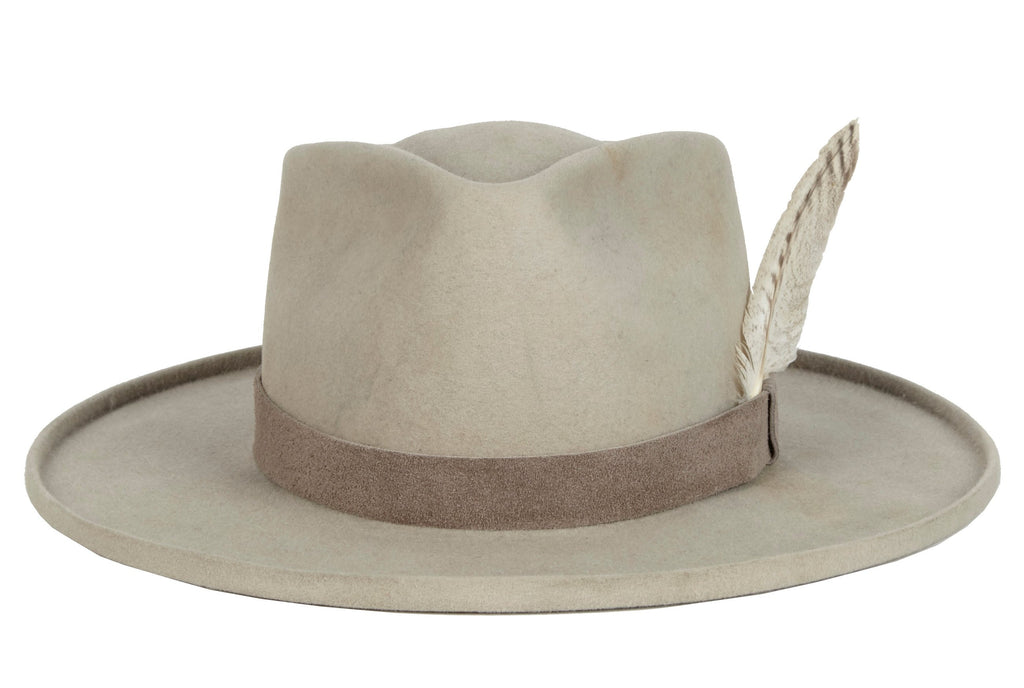Ricki. Men's Handmade Cowboy Hat with feather. Men's Handmade Western Staple Hat. Gladys Tamez Hat Store.