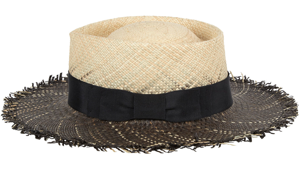 Riviera. Women's Handmade Panama Straw Sun Hat with grosgrain band and frayed ends. Gladys Tamez Hat Store.