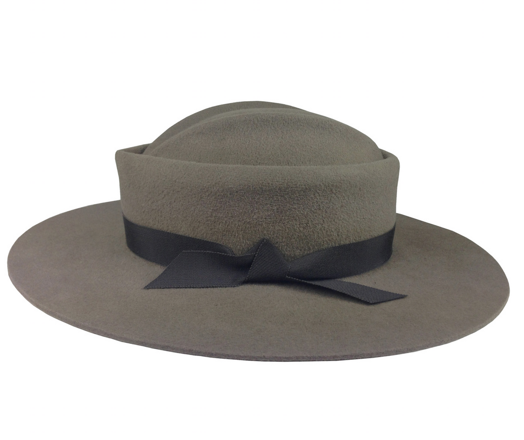 Saint Catherine. Women and Men's Taupe Handmade Felt Velour Hat with black grosgrain band. Gladys Tamez Hat Store. Hats On Sale.
