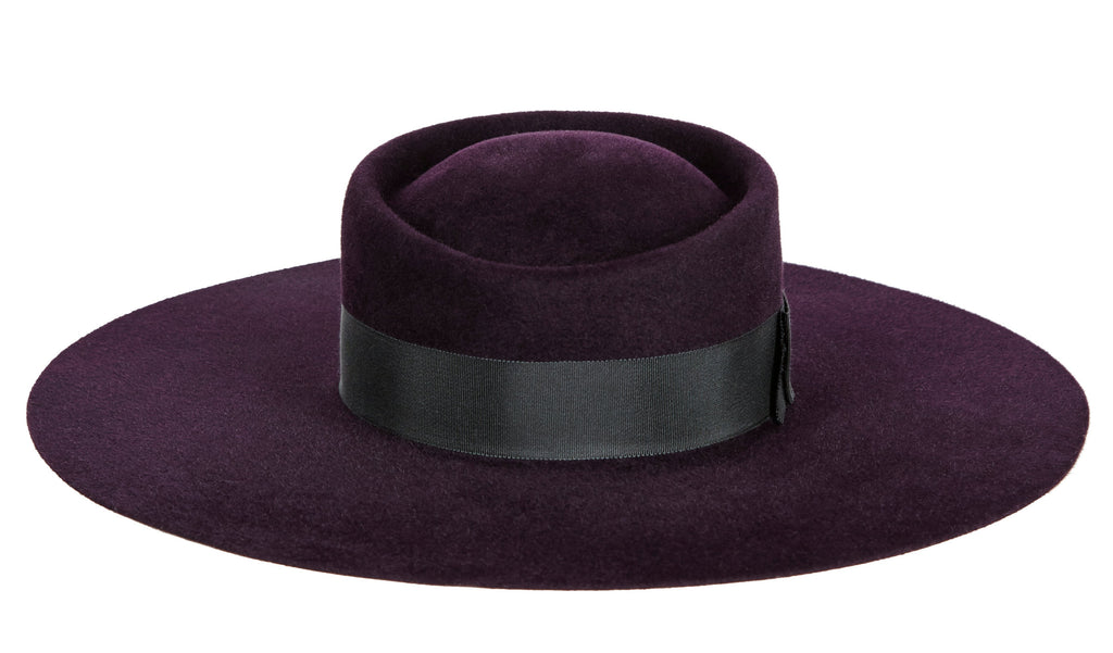 Sedgwick. Women's Handmade Dark Purple Felt Velour Hat with black grosgrain band. Gladys Tamez Hat Store.