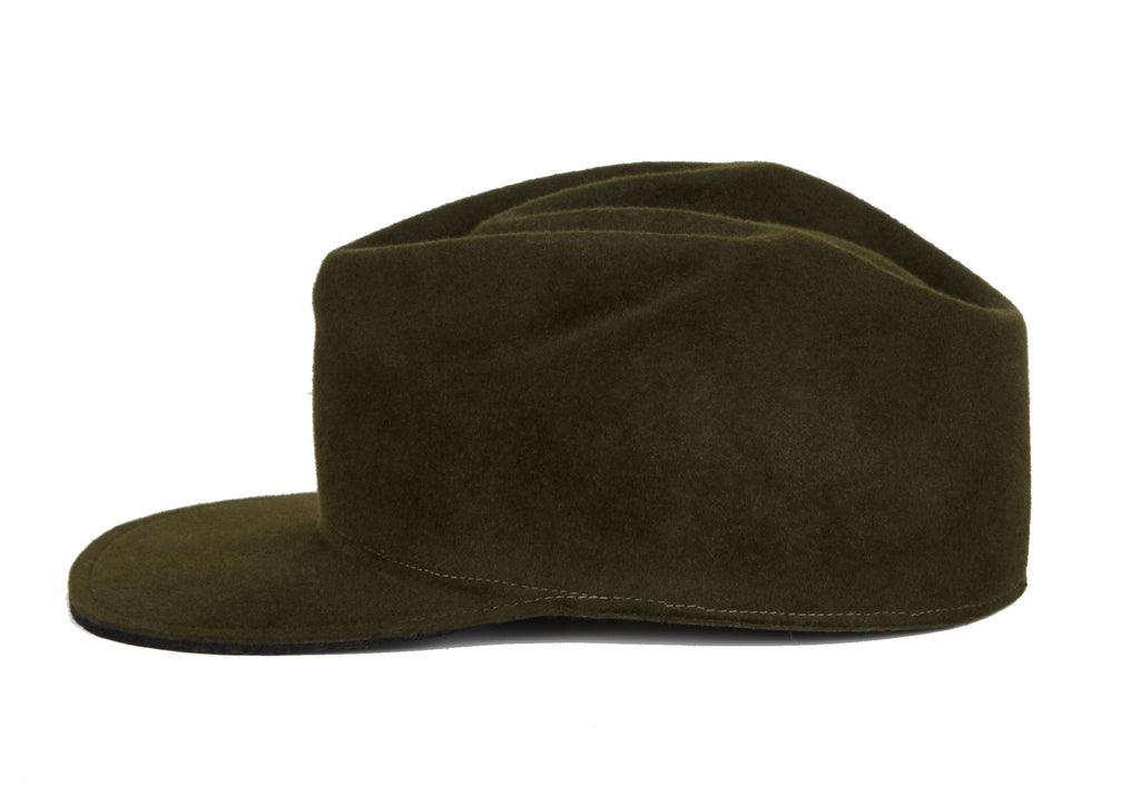 Trench. Men's Felt Velour Cap With Sculptural Crown. Gladys Tamez Hat Store.