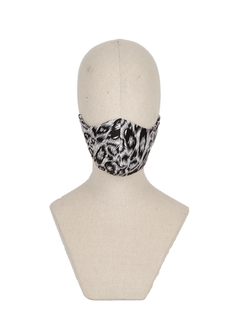 Silver animal print silk blend mask