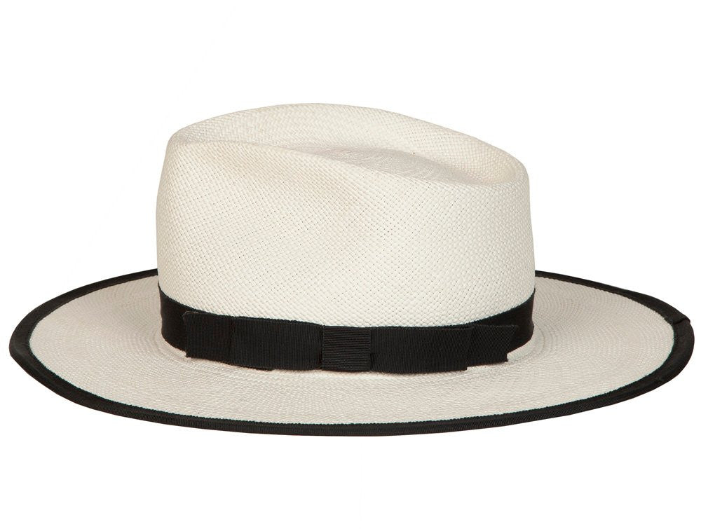 Sinatra. Women and Men's Handmade Panama Straw White Hat with black grosgrain band. Gladys Tamez Hat Store.