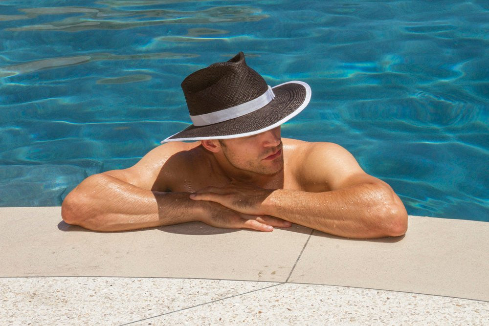 Sinatra. Women and Men's Handmade Panama Straw Black Hat with white grosgrain band. Gladys Tamez Hat Store.