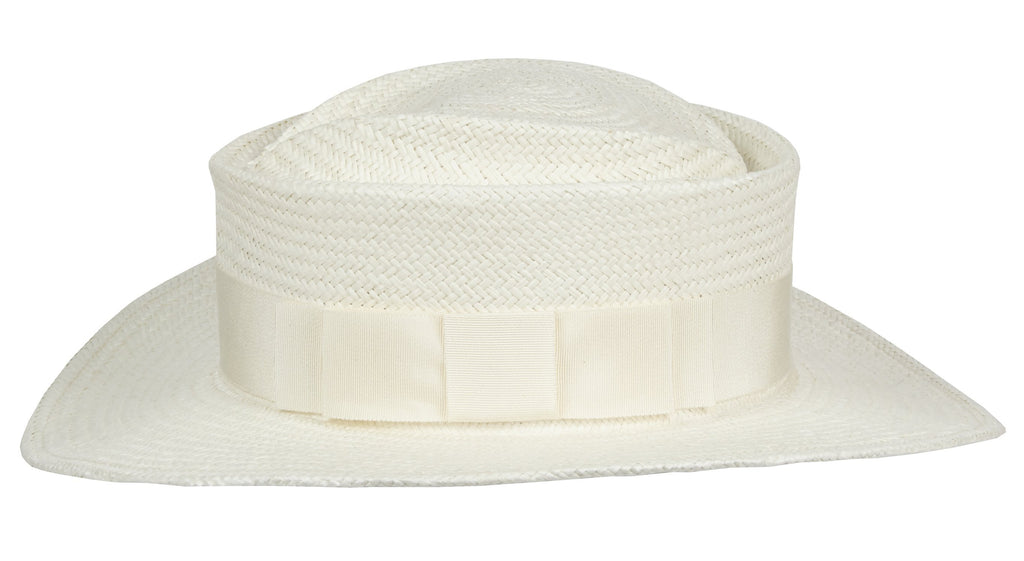 Taylor. Women and Men's Handmade Panama Straw White Hat with White Grosgrain Band. Gladys Tamez Hat Store.