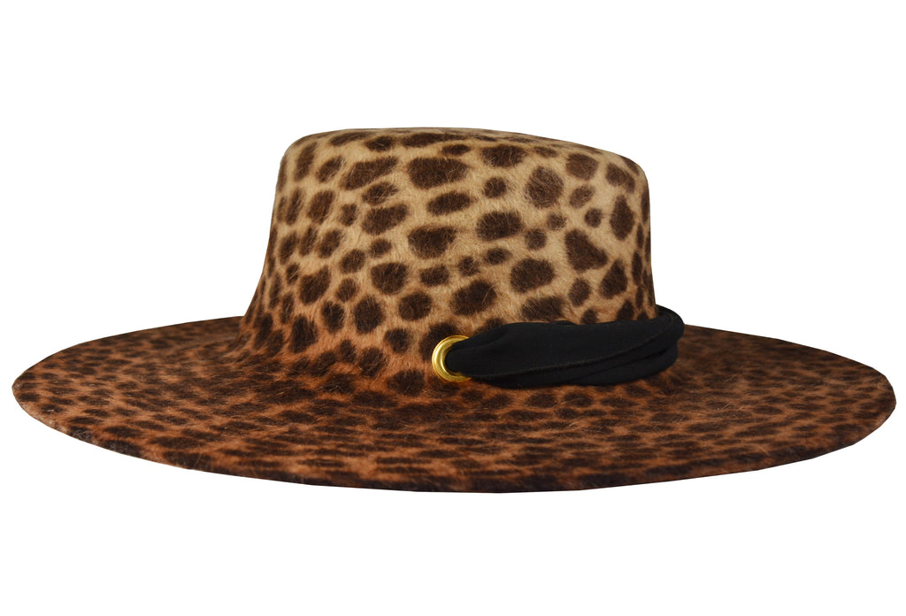 Verushka. Women Felt Velour Floppy Leopard Hat With Silk Band.