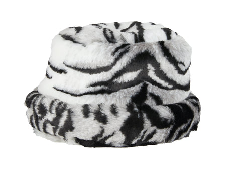Zebra fur bucket hat