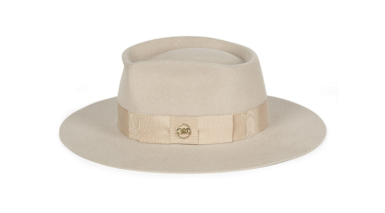 Blonde. Women and Men Felt Velour Handmade White Hat With Grosgrain Band.