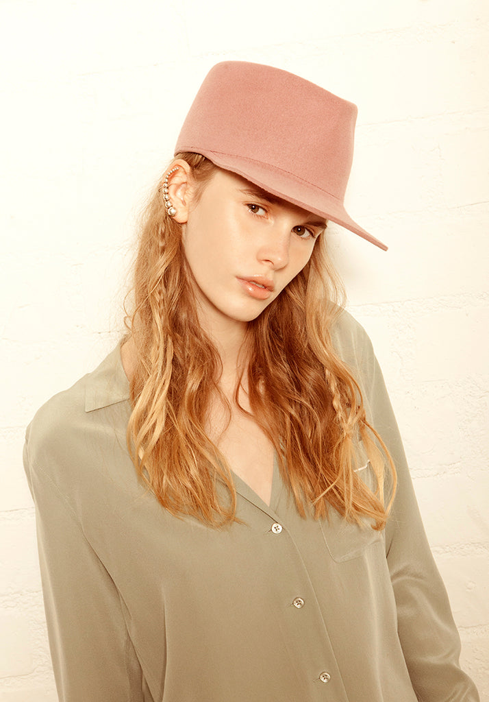 Daria. Women and Men's Handmade Pink Felt Velour Caps. Gladys Tamez Hat Store.