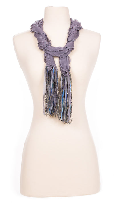 Solid Grey Waves Fabric Scarf