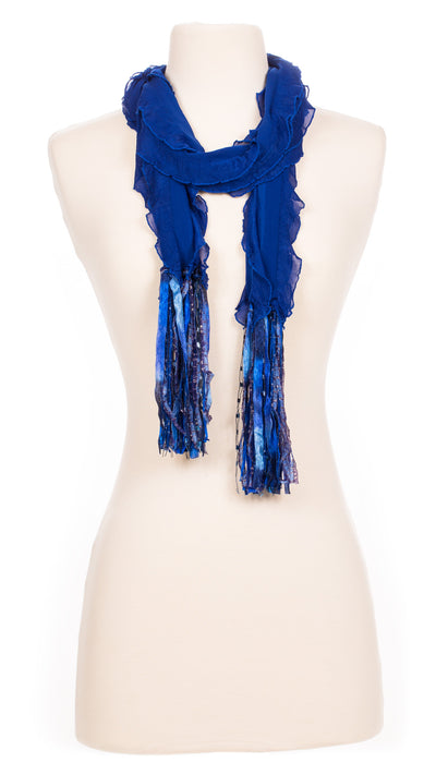 Solid Ocean Blue Waves Fabric Scarf
