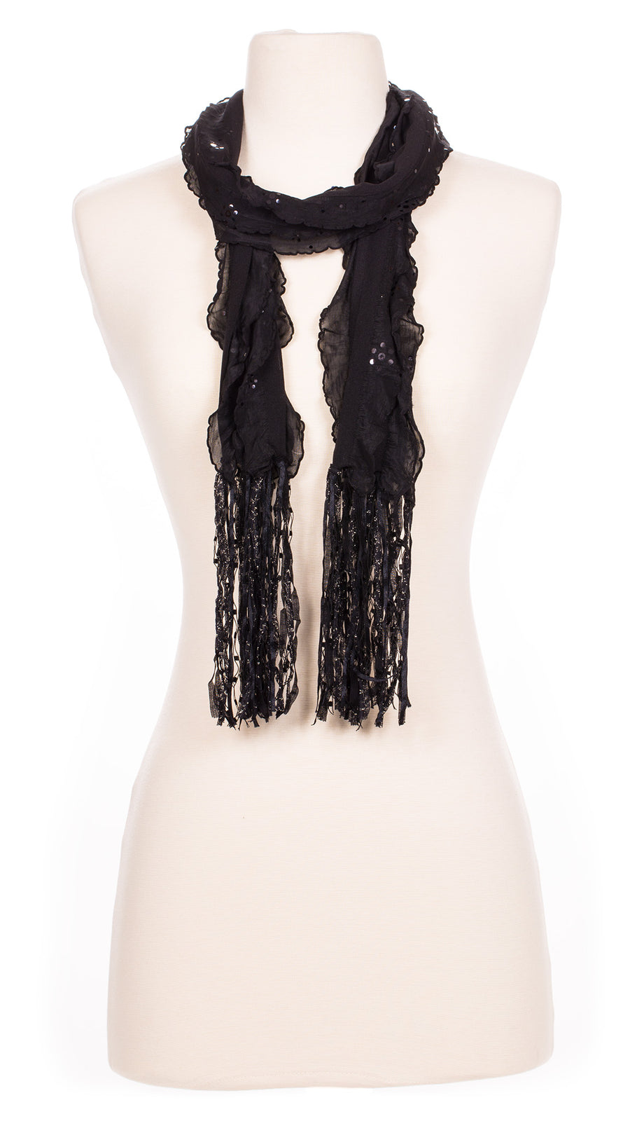 Solid Black Sequin Waves Fabric Scarf
