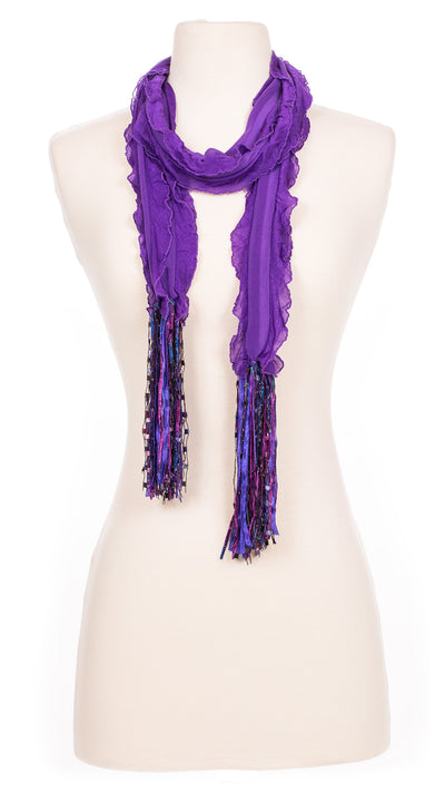 Solid Violet Waves Fabric Scarf