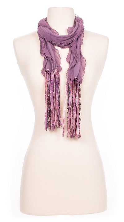 Solid Mauve Waves Fabric Scarf
