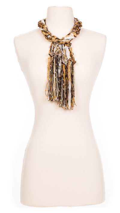Patched Leopard Fabric Scarf
