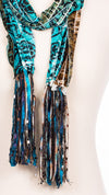 Teal Swirl Design Fabric Scarf
