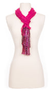 Solid Raspberry Waves Fabric Scarf