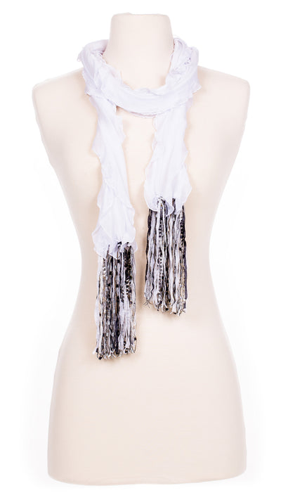 Solid Snow White Waves Fabric Scarf
