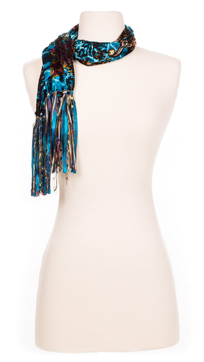 Retro Teal Swirl Velour Scarf