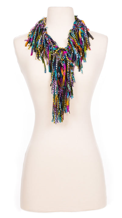 Sophisticated Rainbow Fringe Scarf