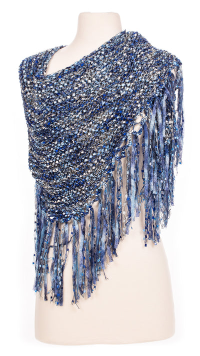 Denim Blues Knit Shawl