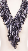 Black and White Single Ruffle Scarf
