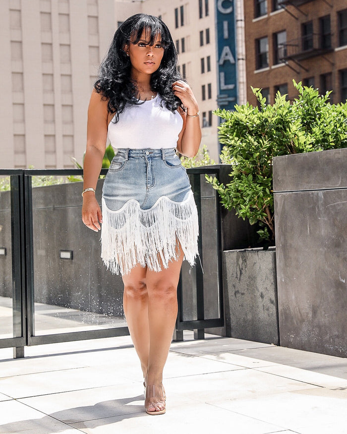 Fall For The Fringe | Denim Fringe Detail Skirt SHIPS BY 7/31-8/5