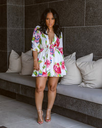 Blossoming Babydoll  |Deep V  Dress