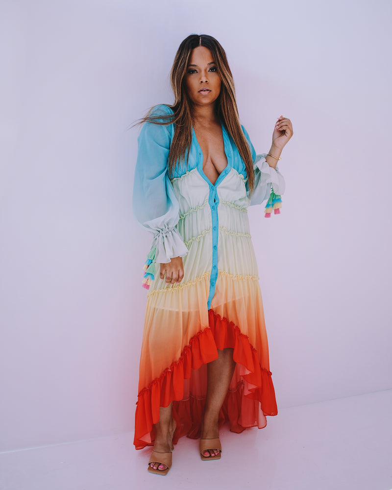 Into The Sunset | Ruffle Maxi dress Estimated Shipping date :5/5