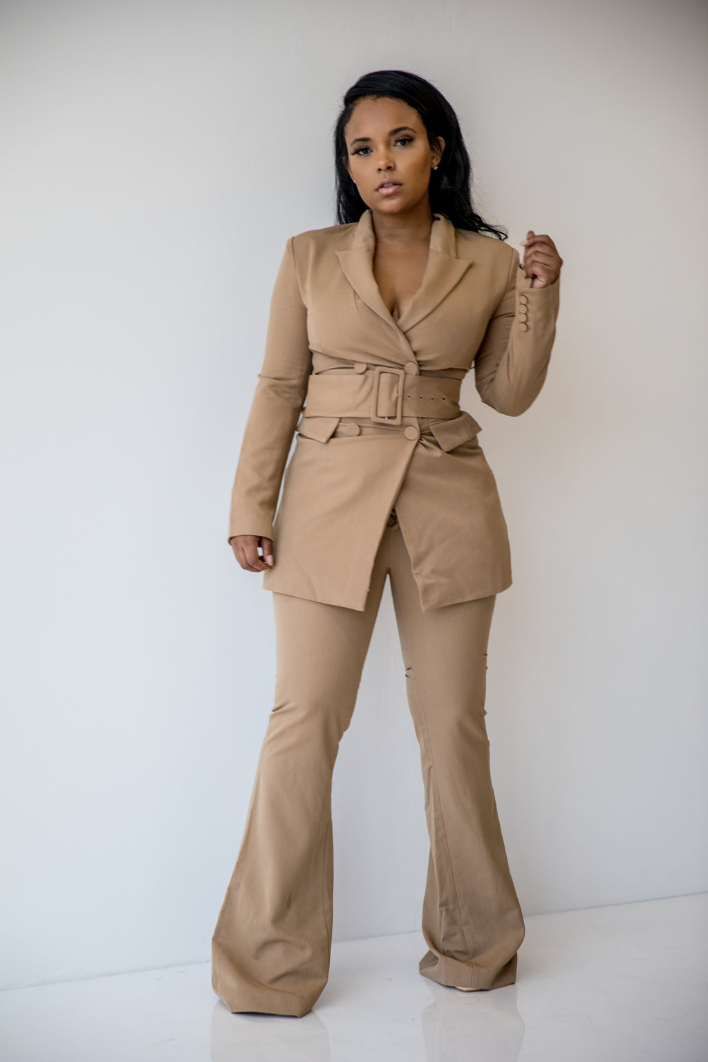 Headed to the Top | Belted Pant Suit