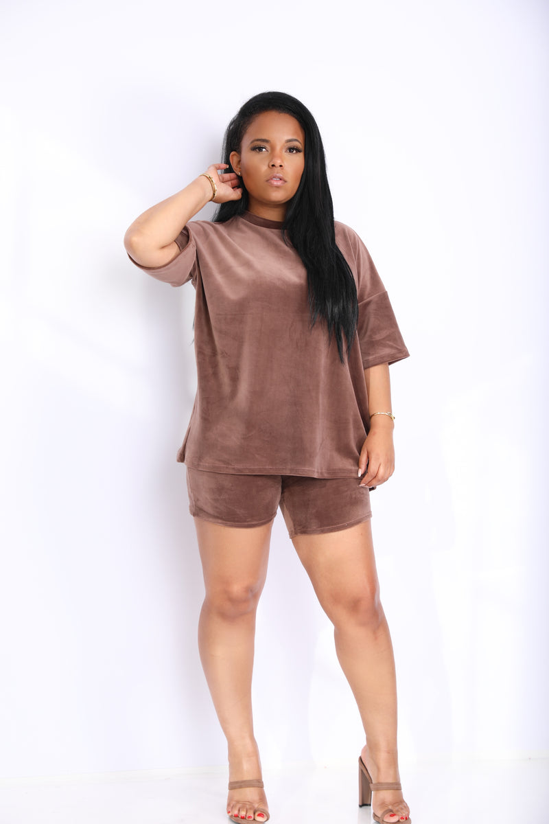 Coming Casual | Oversized Velour Short Set