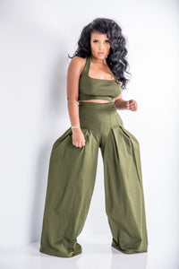 Come Pleat Me | Corset Pleated Wide Leg pant