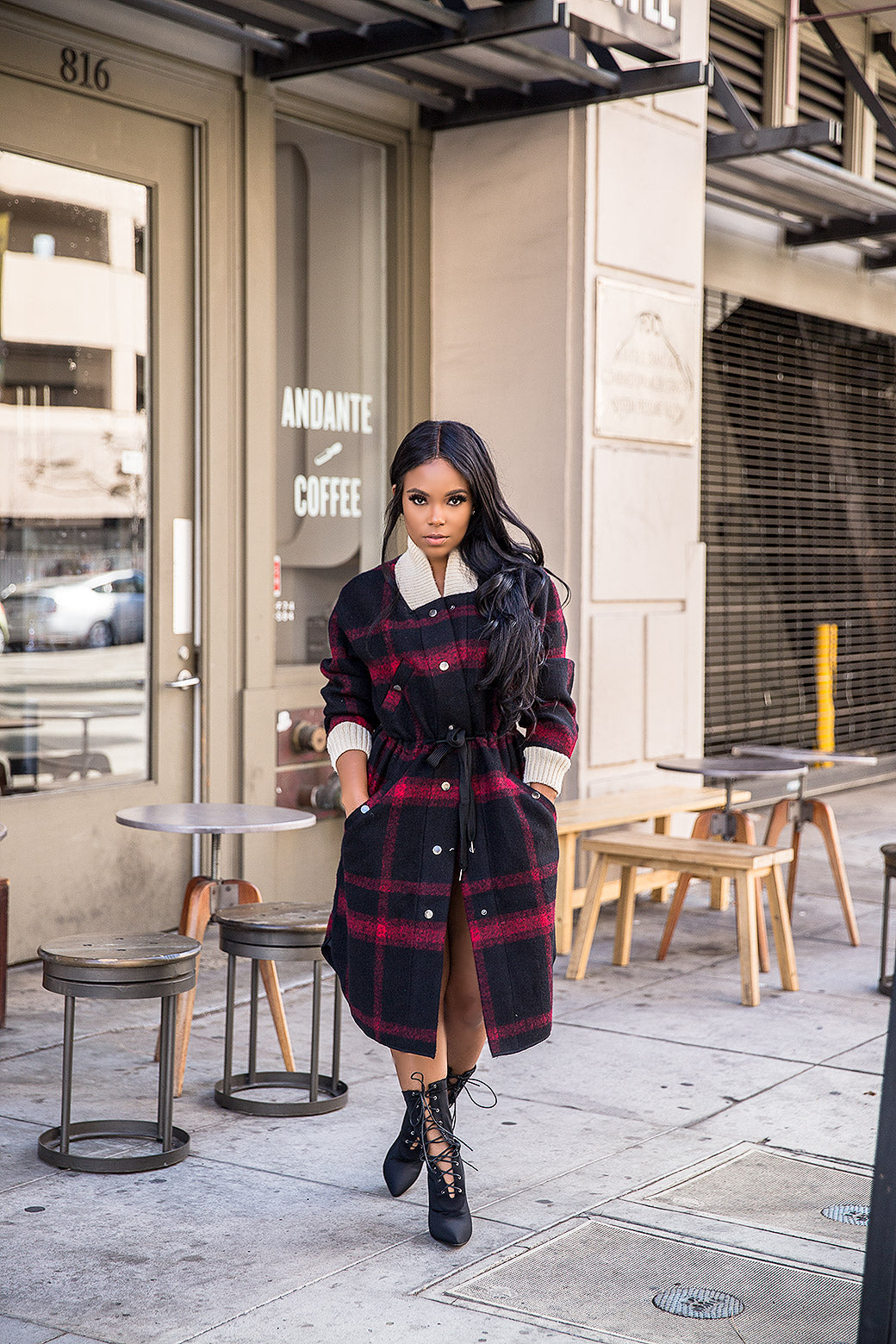 Coffee Date | Plaid Coat