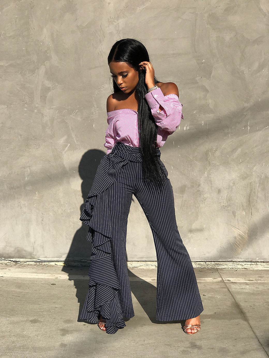 Working Ruffles | Pin Stripe Trousers