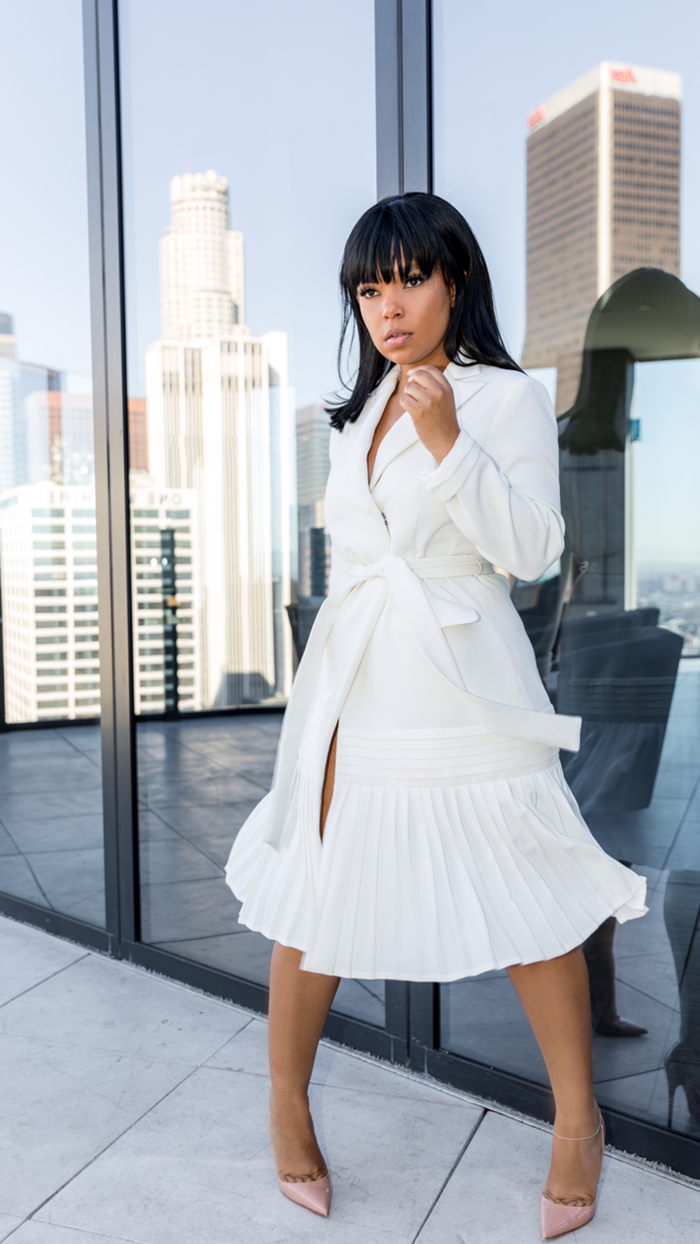The Boss's Boss | Tuxedo Pleated Dress