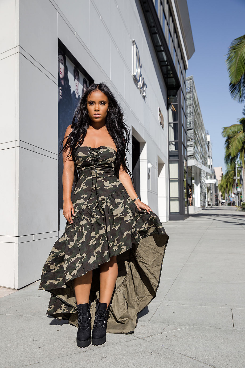 Boot Camp Baby | High Low Camo Dress