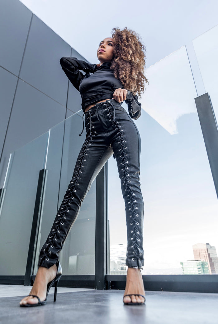 Good To Be Bad | Lace Up Leather Pants