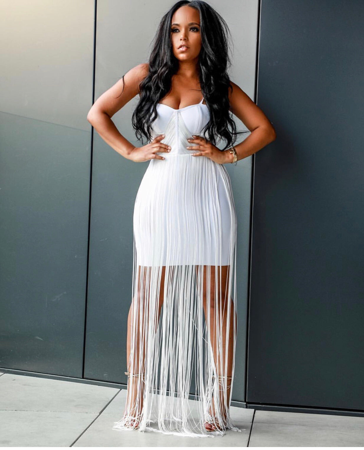 Neck Breaker | Bandage Fringe Dress