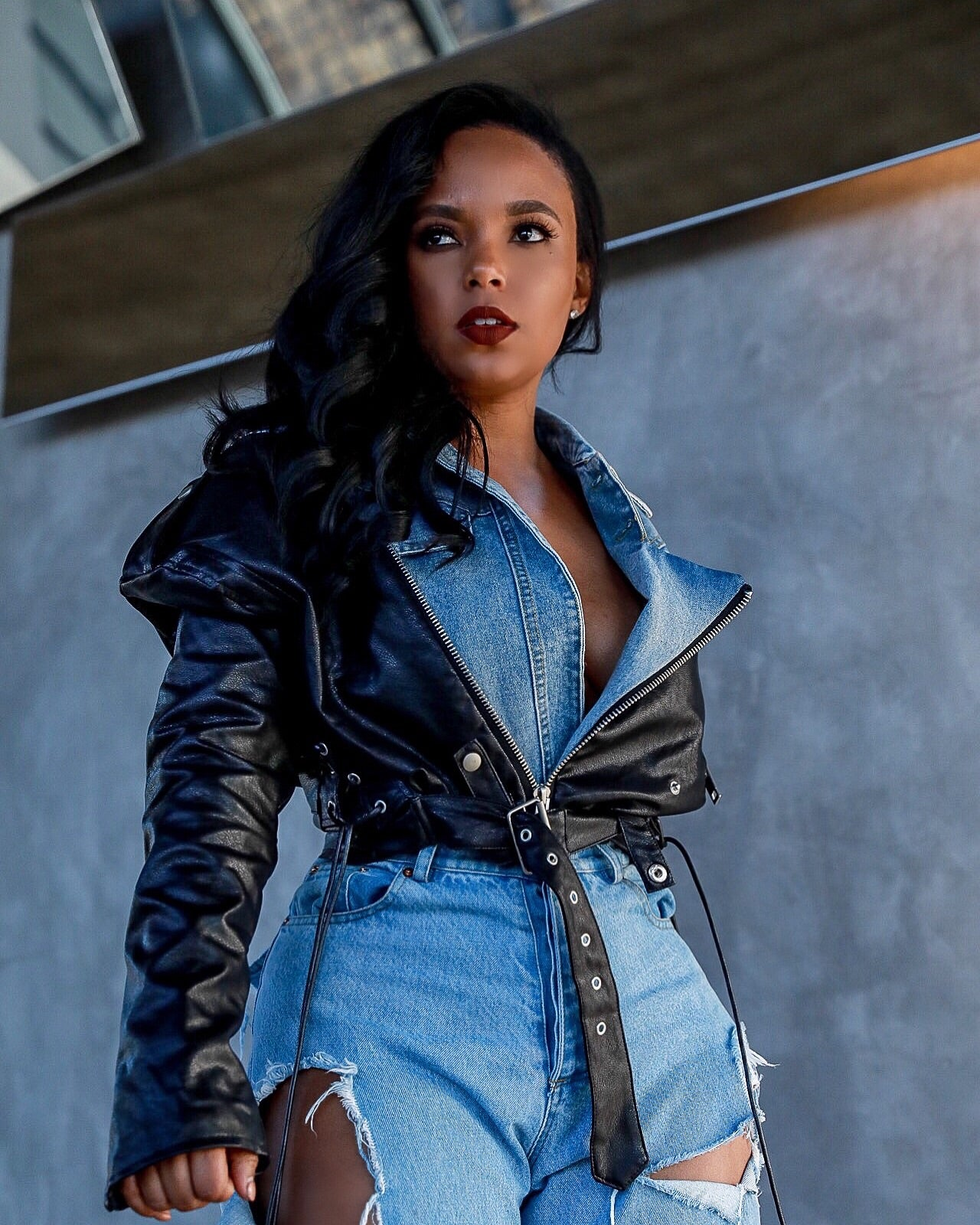 The Remix | Faux Leather Denim Crop Jacket