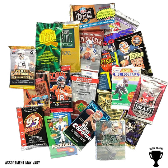 Football Card Packs Decade Bundle - 5 Packs of Football Trading Cards from 1990's 2000's 2010's