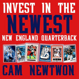 Cam Newton Football Card Bundle, Set of 6 Assorted New England Patriots Auburn Tigers Mint Football Cards Gift Set of MVP Quarterback Cam Newton, Protected by Sleeve and Toploader