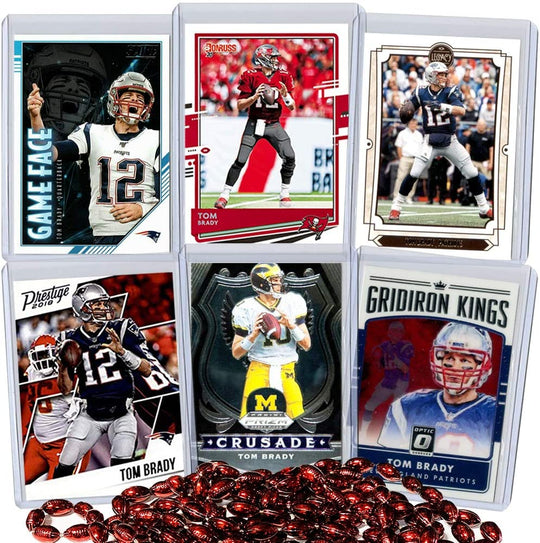 Tom Brady Football Card Bundle, Set of 6 Assorted Mint Football Cards, Sleeved and Toploaded