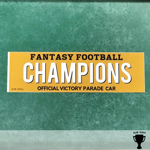 Fantasy Football Champion Bumper Sticker - Fantasy Football First Place Award