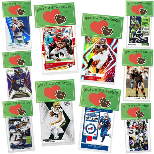 Football Valentines Day Cards for Kids School Classroom Exchange, You're A Great Catch 10 Pack, New Football Card Packs Party Favor Supplies, Creative and Cute HASSLE FREE Pre Assembled Gift Idea