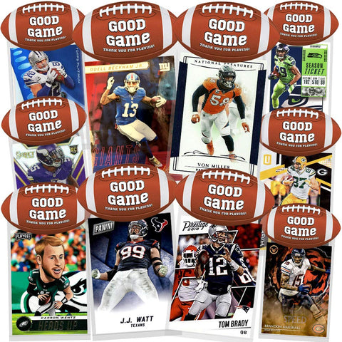 Football Party Favor 10 Pack, 10 Assorted Football Cards Per Pack, Creative HASSLE FREE  Gift Bags