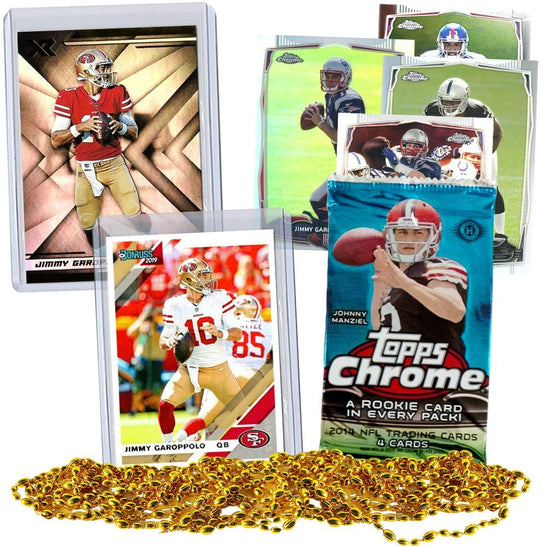 Jimmy Garoppolo Football Card Bundle, Set of 2 Assorted Jimmy Garoppolo San Francisco 49ers Mint Football Cards and 2014 Topps Chrome Football Pack Gift Set, 6 Cards Total, Sleeve Toploader Protected