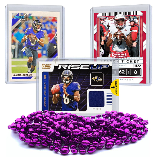 Lamar Jackson Football 3 Card Set with One Authentic Lamar Jackson Jersey Relic Memorabilia Card - Baltimore Ravens Louisville Cardinals