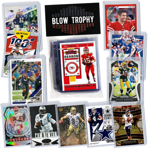 Football Card Gift Set of 12 Assorted Star Quarterbacks - One Rookie, Relic, or Serial included Per Set - With Free Fantasy Football eBook