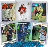 Russell Wilson Football Card Bundle, Set of 6 Assorted Seattle Seahawks and Wisconsin Badgers Mint Football Cards of Quarterback Super Bowl Champion Russell Wilson, Protected by Sleeve and Toploader
