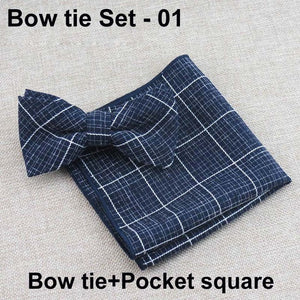 Bowtie And Pocket Square Classic Plaid Set